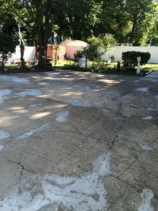 Cracked cement driveway